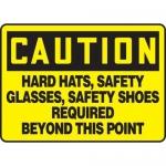 "Accuform MPPE441XP10, 7″ x 10″ OSHA Safety Sign ""Hard Hats"""