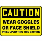 """Accuform MPPE444XF10, 7″ x 10″ Safety Sign """"Wear Goggles Or Face …"""""""
