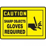 "Accuform MPPE468XF10, 10″ x 14″ OSHA Safety Sign ""Sharp Objects"""
