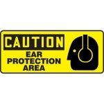 """Accuform MPPE650XF10, 7″ x 17″ OSHA Safety Sign """"Ear Protection Area"""""""
