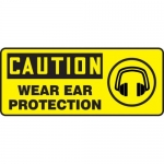 """Accuform MPPE672XF10, 7″ x 17″ OSHA Safety Sign """"Wear Ear Protection"""""""