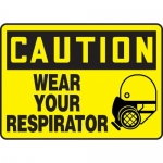 "Accuform MPPE718XF10, 10″ x 14″ Safety Sign ""Wear Your Respirator"""