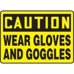 """Accuform MPPE725XP10, 10″ x 14″ Safety Sign """"Wear Gloves And Goggles"""""""