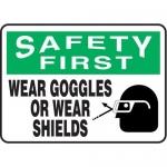 "Accuform MPPE906XF10, 10″ x 14″ OSHA Safety Sign ""Wear Goggles …"""