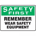 "Accuform MPPE913XF, 10″ x 14″ Safety Sign ""Remember Wear Safety …"""
