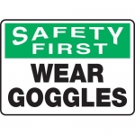 "Accuform MPPE915XF, 10″ x 14″ OSHA Safety Sign ""Wear Goggles"""
