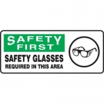 "Accuform MPPE921XV, 7″ x 17″ OSHA Safety Sign ""Safety Glasses …"""