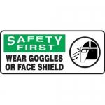 "Accuform MPPE922XF10, 7″ x 17″ OSHA Safety Sign ""Wear Goggles …"""