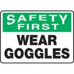 "Accuform MPPE928XL, 7″ x 10″ OSHA Safety Sign ""Wear Goggles"""