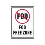 """Accuform MQTL501XT, 14″ x 10″ Safety Sign """"FOD Free Zone"""""""