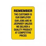 "Accuform MQTL508VS, 20″ x 14″ Quality Sign ""Remember …"""