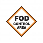 """Accuform MQTL522XF10, 12″ x 12″ Safety Sign """"FOD Control Area"""""""