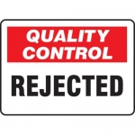"""Accuform MQTL715VP, 10″ x 14″ Quality Control Safety Sign """"Rejected"""""""