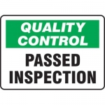 """Accuform MQTL720VP10, 10″ x 14″ Safety Sign """"Passed Inspection"""""""