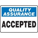 """Accuform MQTL910XL, 10″ x 14″ Safety Sign """"Accepted"""""""