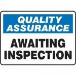 "Accuform MQTL914XT, 10″ x 14″ Safety Sign ""Awaiting Inspection"""