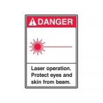 """Accuform MRAD002XF, 10″ x 7″ ANSI Safety Sign """"Laser Operation …"""""""