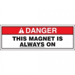"""Accuform MRAD144XT10, 4″ x 12″ ANSI Safety Sign """"This Magnet …"""""""