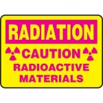 """Accuform MRAD909VS10, 7″ x 10″ Safety Sign """"Caution – Radioactive …"""""""
