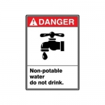 """Accuform MRAW101XF10, 10″ x 7″ ANSI Safety Sign """"Non-Potable Water…"""""""
