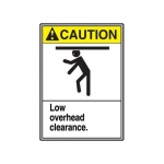 """Accuform MRCR606XP, 14″ x 10″ Safety Sign """"Low Overhead Clearance."""""""