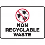"""Accuform MRCY503VS10, 10″ x 14″ Safety Sign """"Non Recyclable Waste"""""""