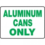 """Accuform MRCY504XL, 10″ x 14″ Safety Sign """"Aluminum Cans Only"""""""