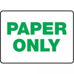 "Accuform MRCY505XT10, 10″ x 14″ Housekeeping Sign ""Paper Only"""