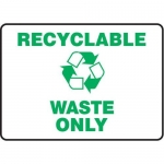 """Accuform MRCY515XP10, 10″ x 14″ Housekeeping Sign """"Waste Only"""""""