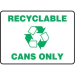 """Accuform MRCY523VS10, 10″ x 14″ Safety Sign """"Recyclable Cans Only"""""""