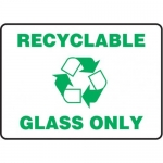 """Accuform MRCY527VS10, 10″ x 14″ Safety Sign """"Recyclable Glass Only"""""""