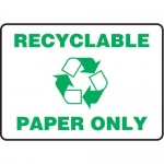 "Accuform MRCY528XT10, 10″ x 14″ Safety Sign ""Recyclable Paper Only"""