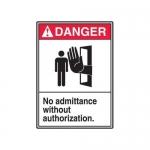 "Accuform MRDM105XP10, 14″ x 10″ ANSI Safety Sign ""No Admittance …"""