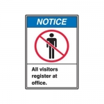 """Accuform MRDM803XV10, 10″ x 7″ Safety Sign """"All Visitors Register …"""""""