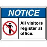 "Accuform MRDM808XT, 10″ x 14″ Safety Sign ""All Visitors Register…"""