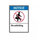 """Accuform MRDM820XV, 14″ x 10″ ANSI Safety Sign """"No Soliciting."""""""