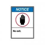 "Accuform MRDM825XV10, 14″ x 10″ ANSI Notice Safety Sign ""No Exit."""
