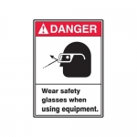 "Accuform MRPE002XP10, 14″ x 10″ Safety Sign ""Wear Safety Glasses …"""