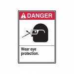 "Accuform MRPE101XT, 14″ x 10″ ANSI Safety Sign ""Wear Eye Protection"""