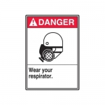 "Accuform MRPE103XP, 14″ x 10″ Safety Sign ""Wear Your Respirator"""