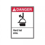 "Accuform MRPE104XP, 10″ x 7″ ANSI Danger Safety Sign ""Hard Hat Area"""