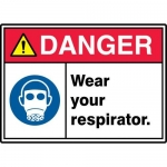 "Accuform MRPE109XT, 10″ x 14″ Safety Sign ""Wear Your Respirator."""