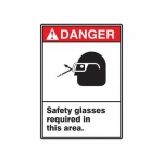 "Accuform MRPE110XV, 14″ x 10″ ANSI Safety Sign ""Safety Glasses …"""