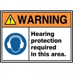 """Accuform MRPE311VP10, 10″ x 14″ Safety Sign """"Hearing Protection …"""""""