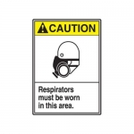 "Accuform MRPE601VP, 14″ x 10″ ANSI Safety Sign ""Respirators Must…"""