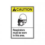 "Accuform MRPE601XV10, 14″ x 10″ ANSI Safety Sign ""Respirators Must…"""
