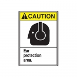 """Accuform MRPE605VP, 14″ x 10″ Safety Sign """"Ear Protection Area."""""""