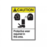 """Accuform MRPE606VP, 14″ x 10″ ANSI Safety Sign """"Protective Wear …"""""""