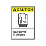 "Accuform MRPE607XV10, 14″ x 10″ ANSI Safety Sign ""Wear Gloves …"""
