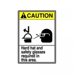 """Accuform MRPE619VS, 14″ x 10″ ANSI Safety Sign """"Hard Hat And …"""""""